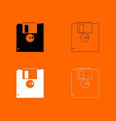 Floppy disk black and white set icon vector
