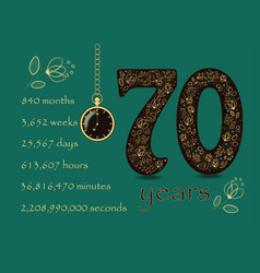 Floral card with number seventy and pocket watch vector