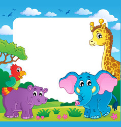 Frame with african fauna 1 vector