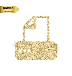 Gold glitter icon of fax machine isolated vector image