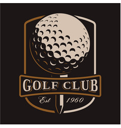 Golf ball logo on dark background vector