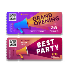 Grand opening and party invitation tear-off flyer vector