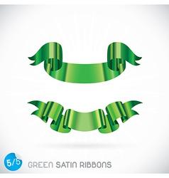Green Satin Ribbons vector image