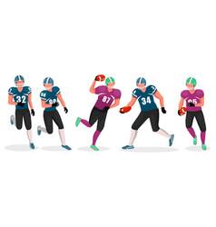 gridiron players set american football game hobby vector image