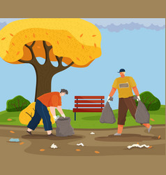 Guys remove plastic and paper in autumn park vector