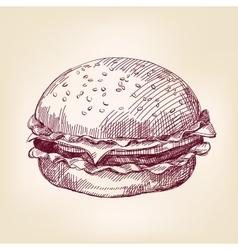 hamburger hand drawn llustration realistic vector image