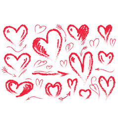hand drawn hearts symbol of love set vector image