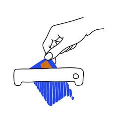 hand holding blue credit card on shredder machine vector image