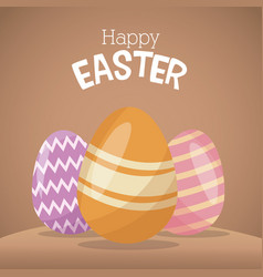 Happy easter card egg decorative celebration vector