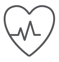 heartbeat line icon cardiogram and heart pulse vector image