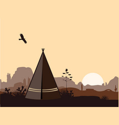Indian wigwam silhouette with cacti mountains and vector
