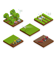 isometric agriculture automatic guided robots vector image