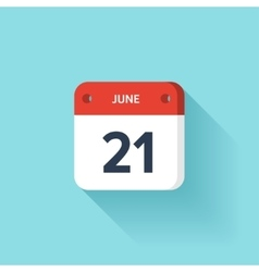 June 21 Isometric Calendar Icon With Shadow vector