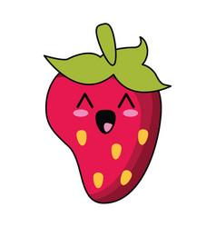 Kawaii strawberry fruit nutrition vector