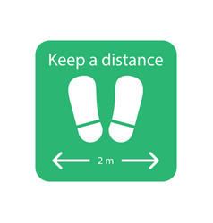 keep your distance sign sticker for reopening vector image