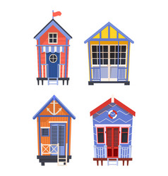 lifeguard stations or buildings with lifebuoy vector image