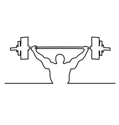 Lifting weights one line drawing vector