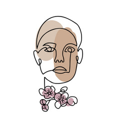 line woman face portrait with spring flowers vector image