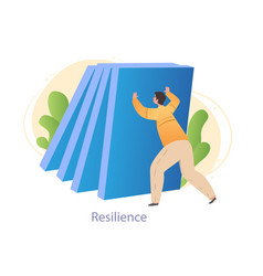 Male character is holding big blue blocks vector