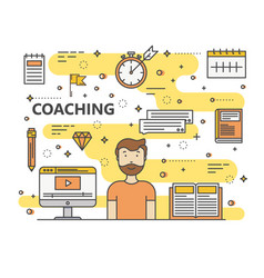 modern thin line coaching concept vector image