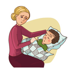 Mother worries about her ill son who stays in bed vector