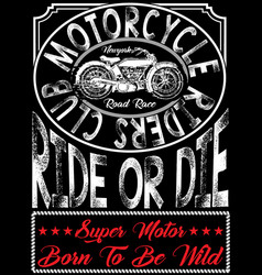 motorcycle poster tee graphic vector image