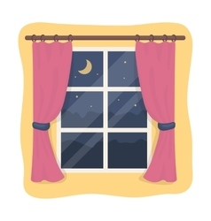 Night out the window icon in cartoon style vector