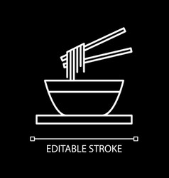 Noodles bowl white linear icon for dark theme vector