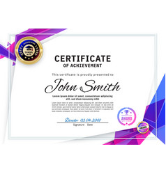 Official white certificate with blue triangles and vector