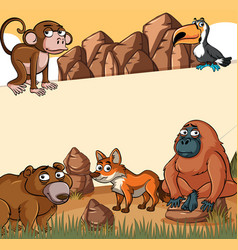 Paper template with wild animals vector