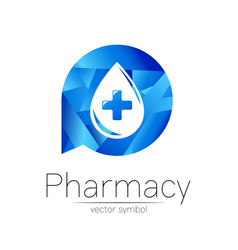 Pharmacy symbol blue drop with cross in vector