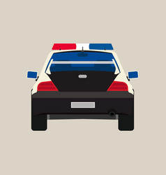 Police car back view flat icon vehicle cop vector