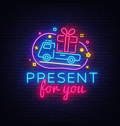 prizes for you neon sign gift design vector image