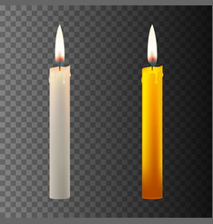 Realistic candle on dark back vector