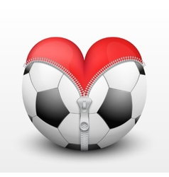 Red heart inside soccer ball vector image