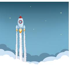 Rocket ship launch spaceship flies in sky vector