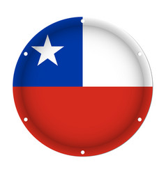 Round metallic flag of chile with screw holes vector