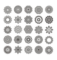 Round ornament pattern isolated mandalas vector
