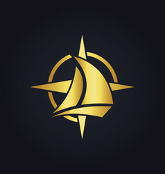 Sailing boat star compass gold logo vector