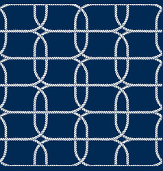 seamless nautical rope pattern white on dark blue vector image