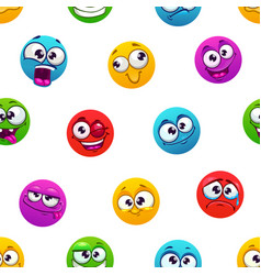 Seamless pattern with funny colorful comic emoji vector