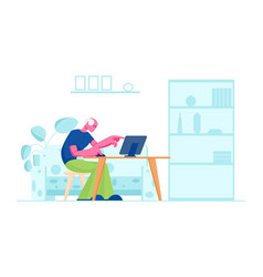 Senior man study to use computer in home interior vector