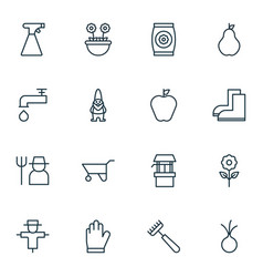 Set of 16 garden icons includes garlic sprinkler vector