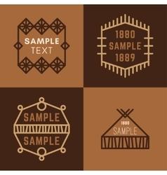 Set of Four Line Art Decorative Geometric vector image