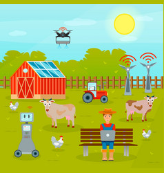 Smart farming flat composition vector
