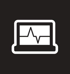 Stylish black and white icon ecg machine vector