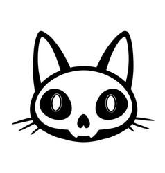 stylized cartoon cat skull head vector image