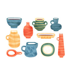 tea time set ceramic tableware for a tea ceremony vector image