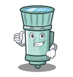 thumbs up flashlight cartoon character style vector image