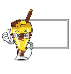 Thumbs up with board mangonada fruit character vector